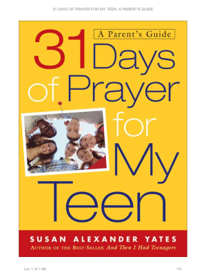 31 Days of Prayer for my Teen cover