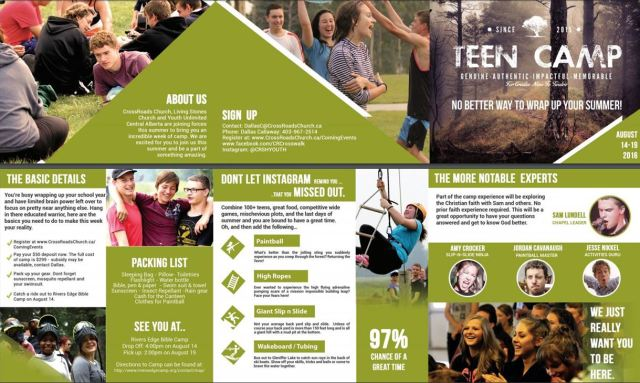 teen camp brochure